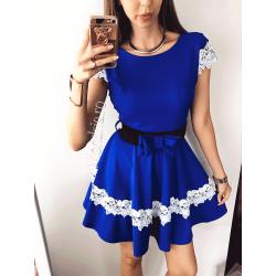 Rochie ocazie eleganta scurta albastra cu broderie alba