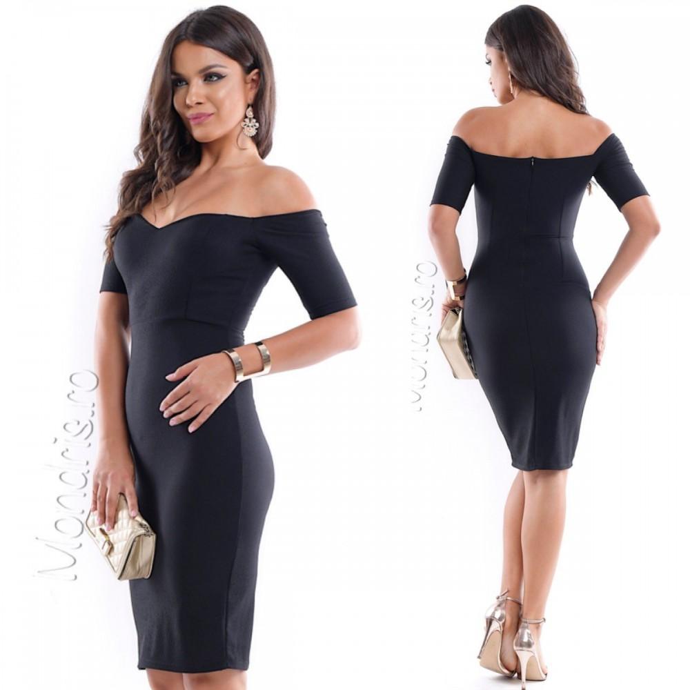 Rochie eleganta de zi scurta stramta neagra cu umeri goi