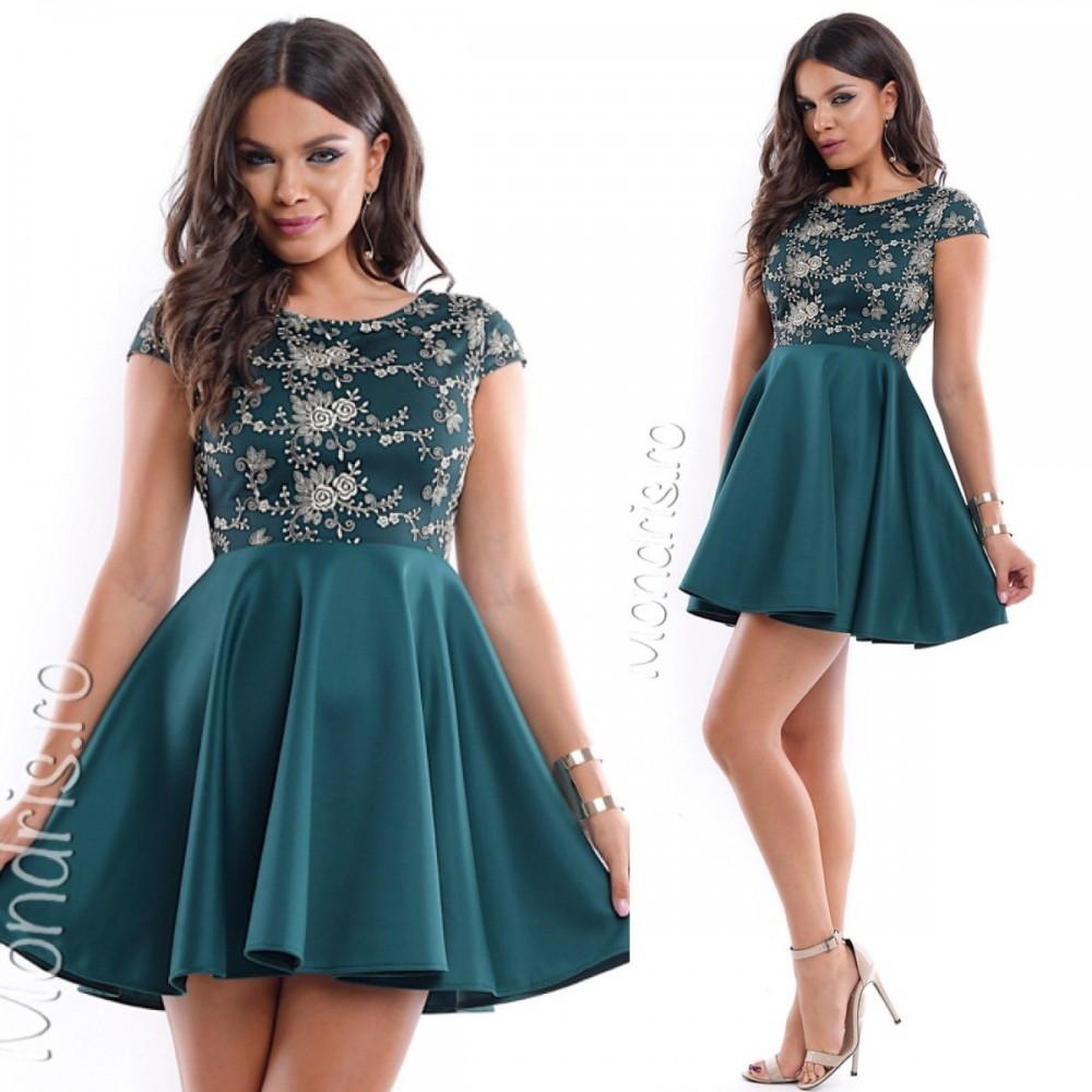 Rochie eleganta de ocazie verde inchis cu broderie argintie