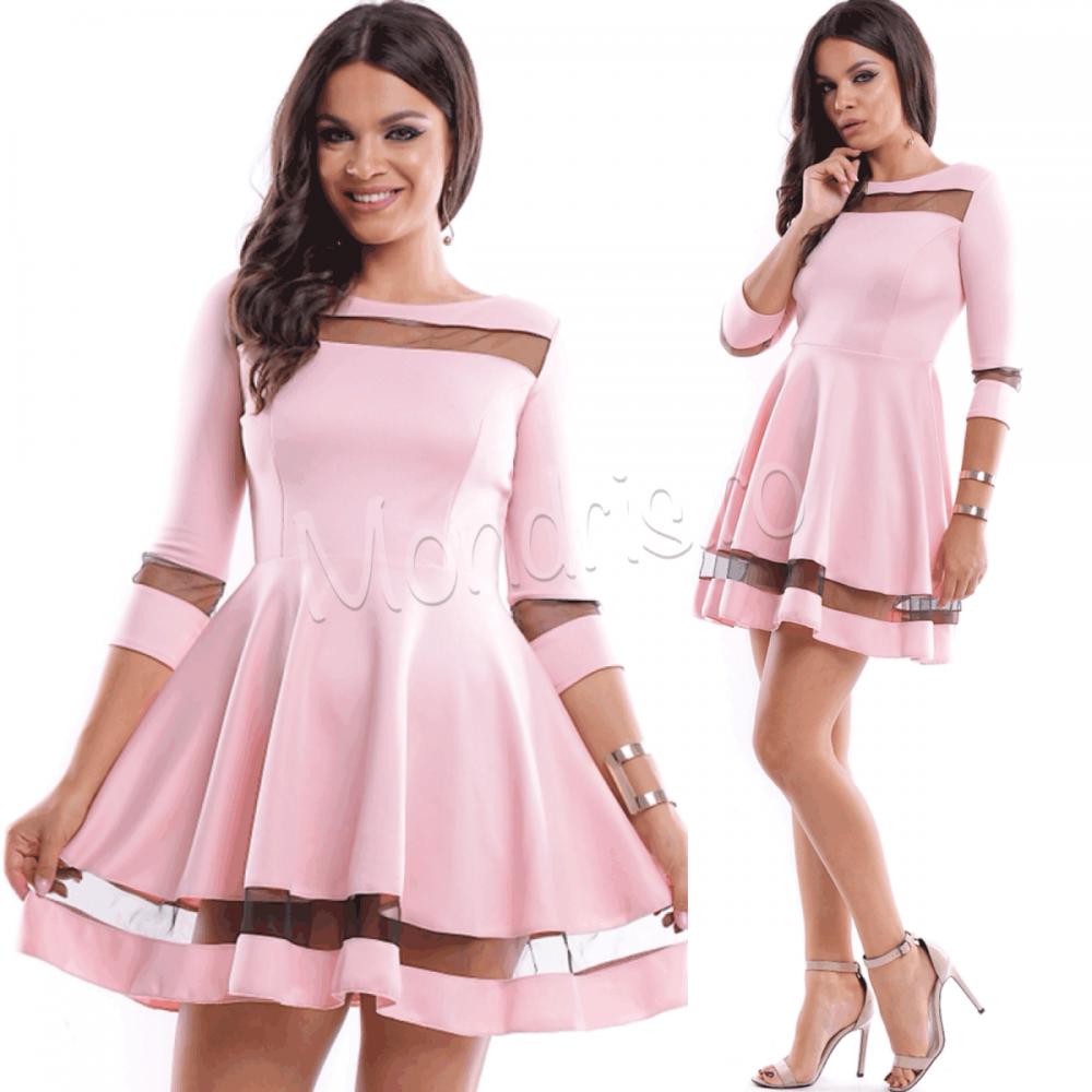 Rochie ocazie cloche roz cu decupaje din tul