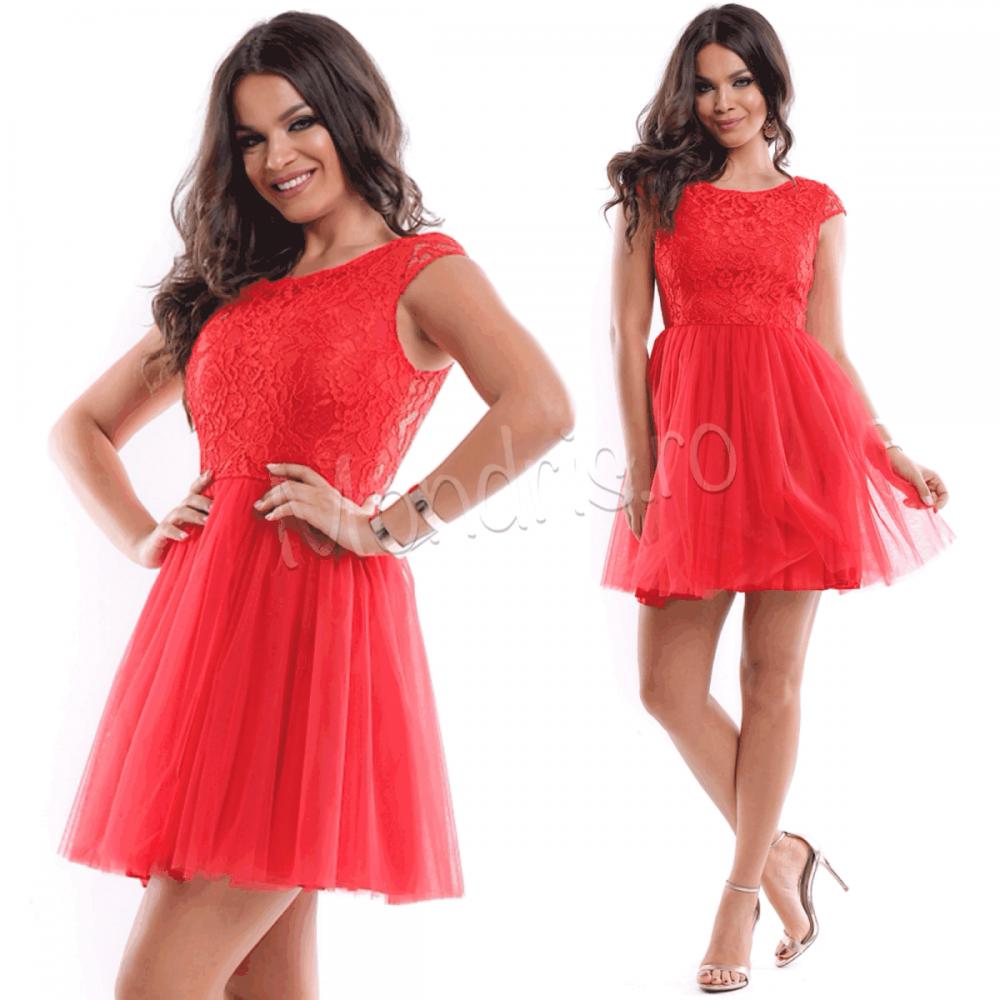 Rochie ocazie eleganta scurta rosie din voal cu corset dantelat