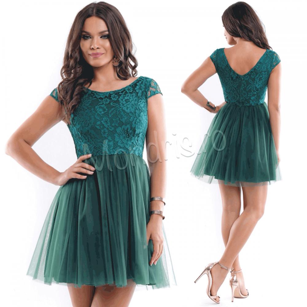 Rochie ocazie eleganta scurta verde din voal cu corset dantelat