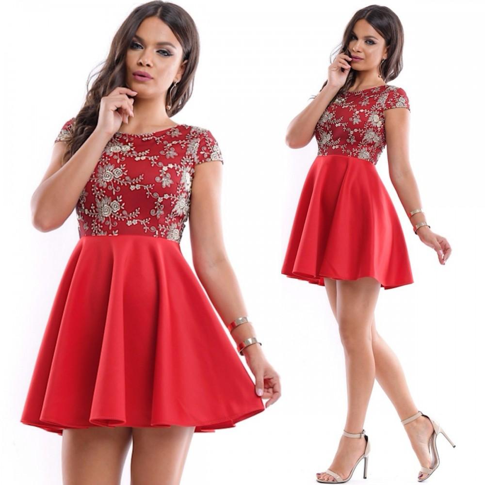 Rochie eleganta de ocazie rosie cu broderie aurie