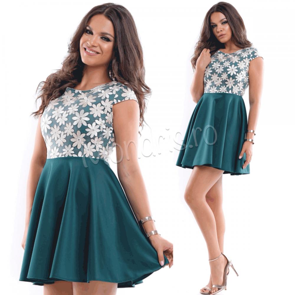 Rochie de ocazie scurta verde cu corset brodat cu flori
