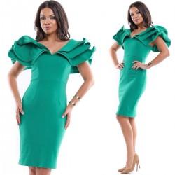 Rochie de ocazie scurta stramta verde cu volanase mari