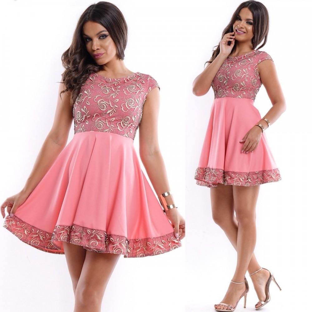 Rochie ocazie scurta cloche roz cu corset si tiv brodat