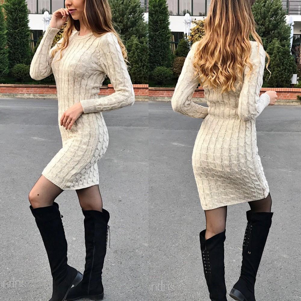 Rochie casual de zi groasa din tricot crem cu maneca lunga