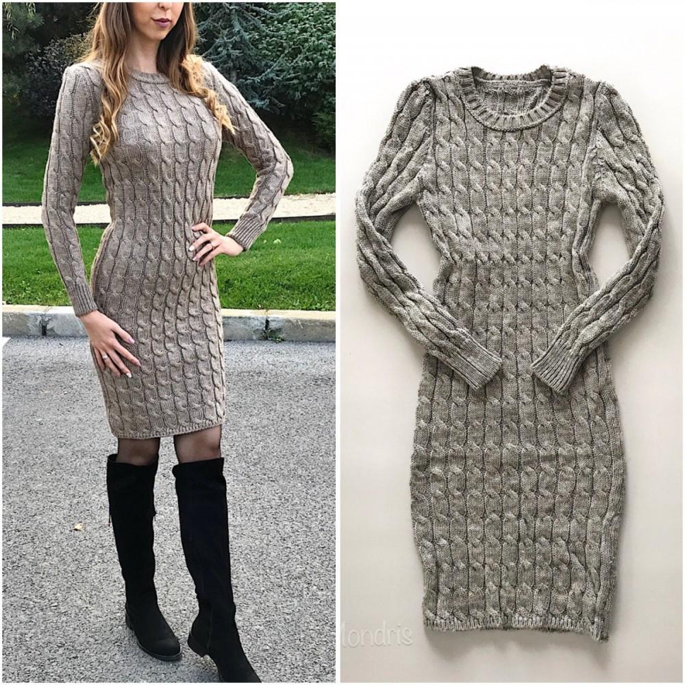Rochie casual de zi groasa din tricot gri inchis cu maneca lunga