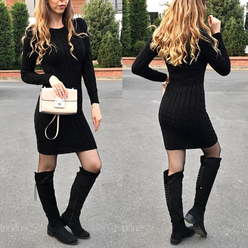 Rochie casual de zi groasa din tricot neagra cu maneca lunga