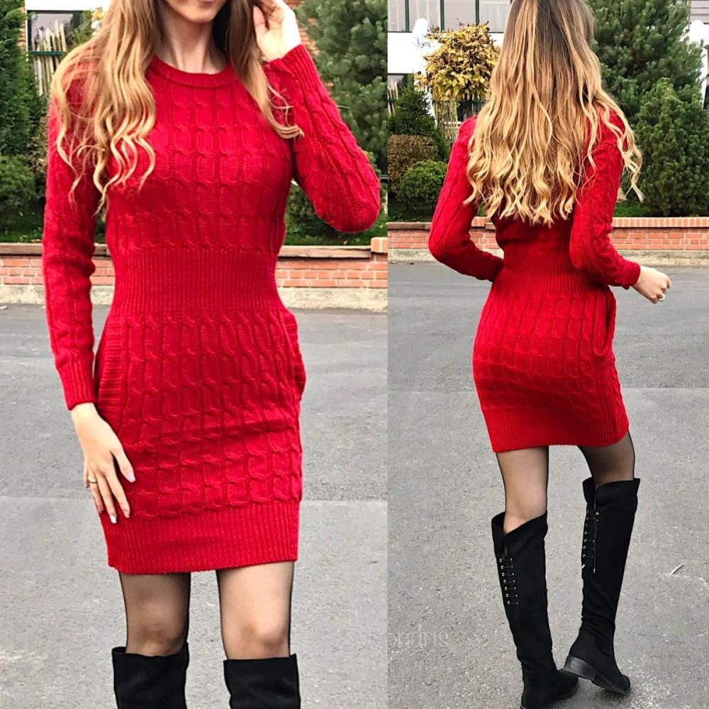 Rochie de zi groasa din tricot rosie cu maneca lunga si model
