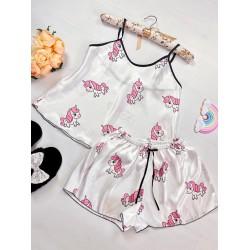 Pijama dama ieftina primavara-vara alb din satin lucios cu imprimeu Unicorn