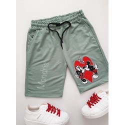 Pantaloni dama scurti sport verzi cu imprimeu Cuplu