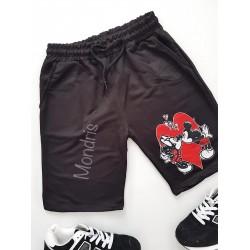 Pantaloni dama scurti sport negri cu imprimeu Cuplu