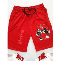 Pantaloni dama scurti sport rosii cu imprimeu Cuplu