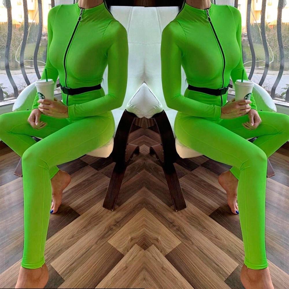 Salopeta dama casual sport stramta verde neon cu fermoar