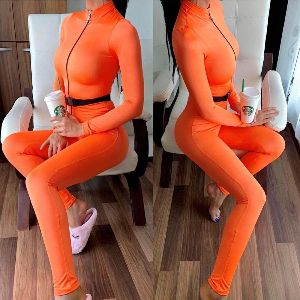 Salopeta dama casual sport stramta portocaliu neon cu fermoar