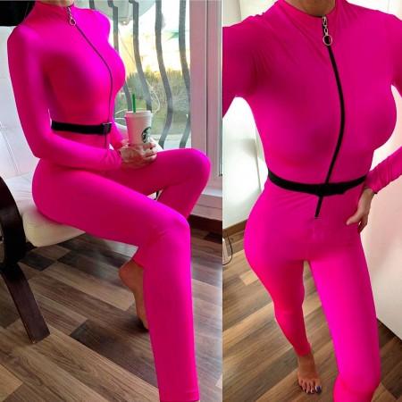 Salopeta dama casual sport stramta roz neon cu fermoar