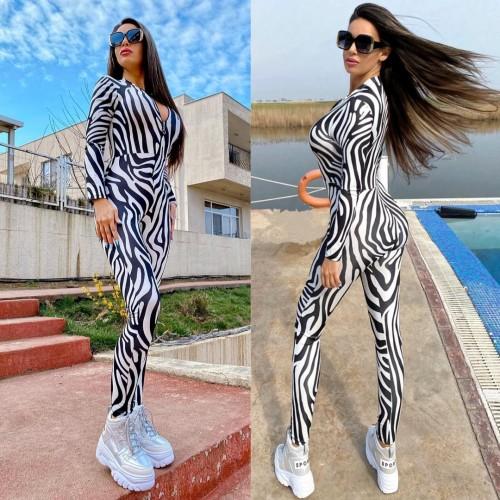 Salopeta dama casual sport stramta alba cu fermoar si imprimeu Zebra