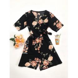 Salopeta dama casual de vara confortabila neagra cu flori corai