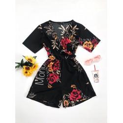 Salopeta dama casual de vara confortabila neagra cu flori rosii