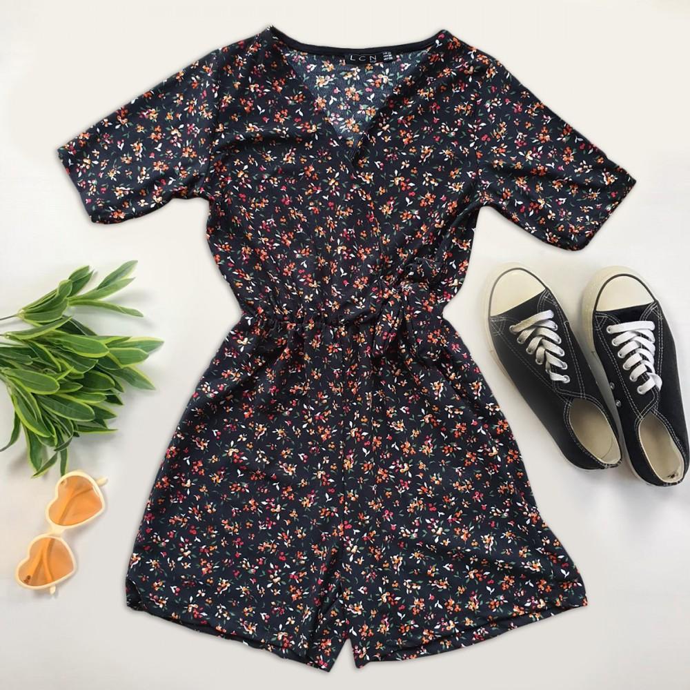 Salopeta dama casual de vara confortabila neagra cu floricele rosii
