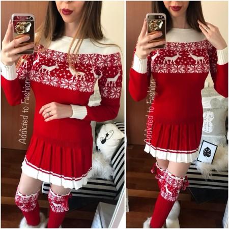 Compleu dama tricot rosu casual alcatuit din rochie, caciula rosie si jambiere