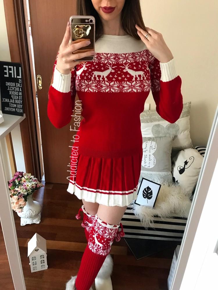 Compleu dama tricot visiniu casual alcatuit din rochie, caciula rosie si jambiere