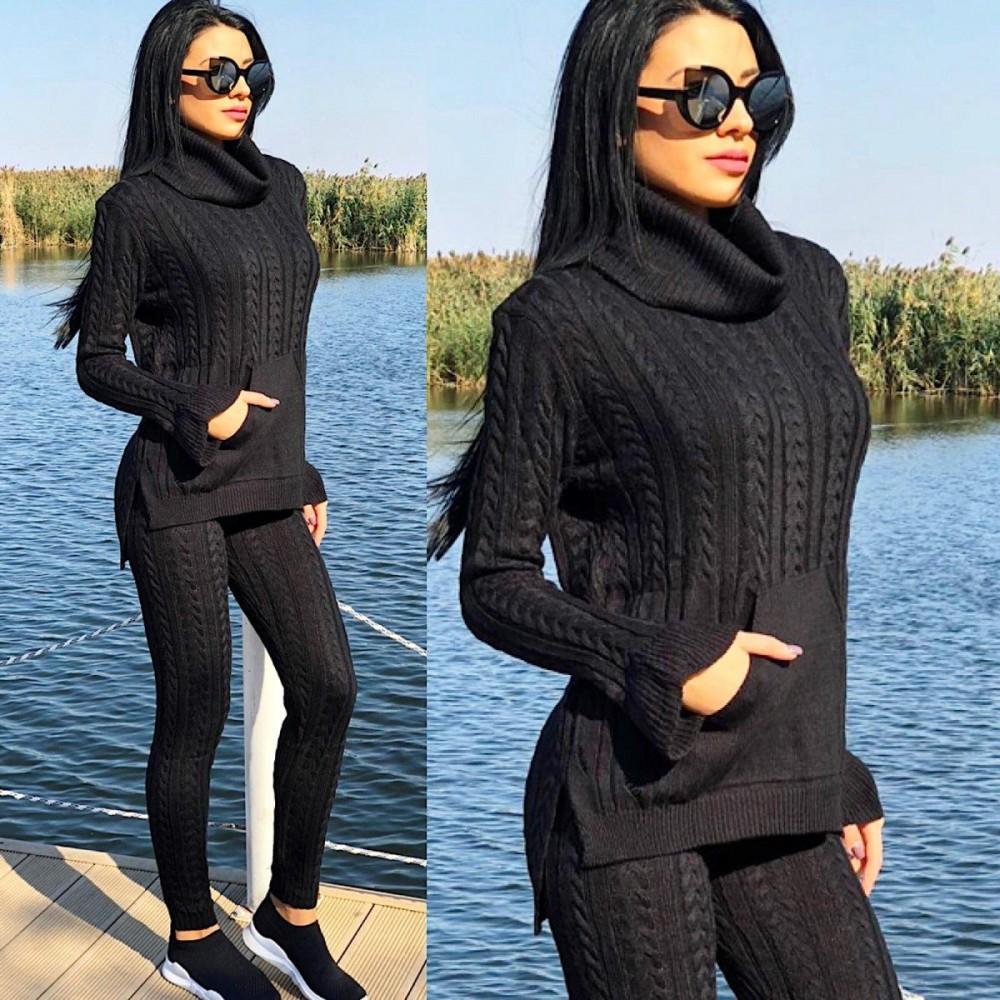 Trening dama din tricot negru cu hanorac cu buzunar si model impletit