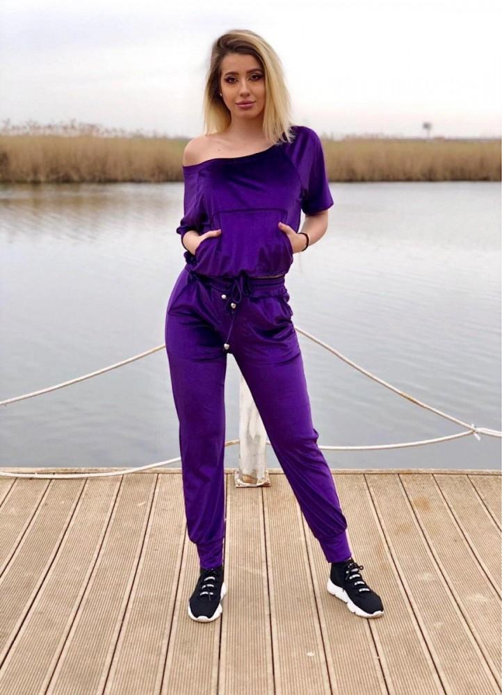 Trening dama casual mov din catifea cu maneca scurta si pantaloni lungi