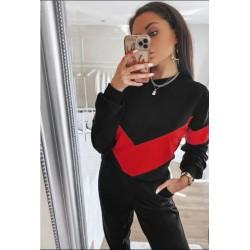 Trening dama casual negru din bumbac cu bluza fashion in doua culori