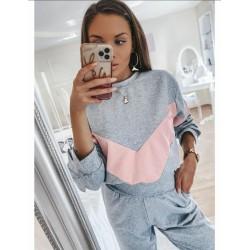 Trening dama casual gri din bumbac cu bluza fashion in doua culori