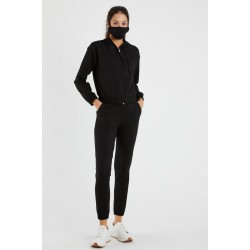 Trening dama casual negru cu hanorac cu gluga fashion, pantaloni lungi si masca din bumbac