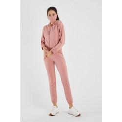 Trening dama casual roz cu hanorac cu gluga fashion, pantaloni lungi si masca din bumbac
