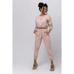 Trening dama roz din bumbac cu hanorac scurt si pantaloni lungi tip jogger