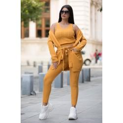 Trening dama 3 piese cardigan + pantaloni + bluza din tricot galben-mustar cu model impletituri