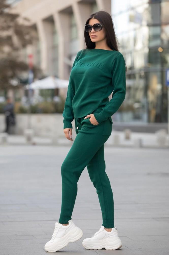 Trening dama din tricot gros verde cu inscriptie 3D VOGUE