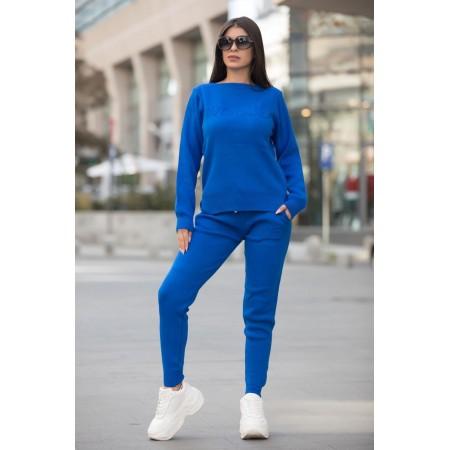 Trening dama din tricot gros albastru cu inscriptie 3D VOGUE