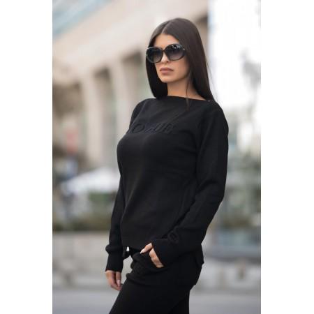 Trening dama din tricot gros negru cu inscriptie 3D VOGUE