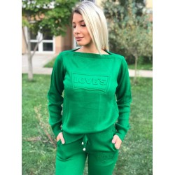 Trening dama din tricot gros verde cu inscriptie 3D LOVE'S