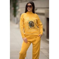 Trening dama din tricot galben cu bluza pe gat si model Tablou
