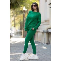 Trening dama ieftin lung din tricot verde cu imprimeu 3D MM