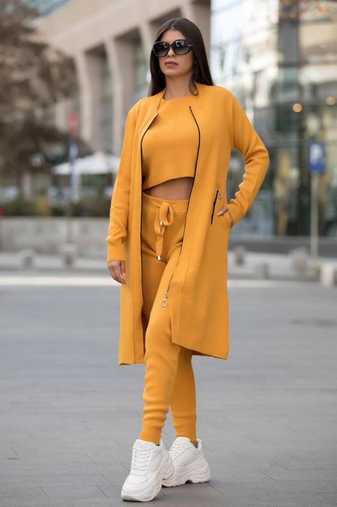 Compleu dama ieftin galben compus din pantaloni lungi + maieu + cardigan lung