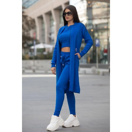 Compleu dama ieftin albastru compus din pantaloni lungi + maieu + cardigan lung