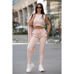 Compleu dama ieftin roz deschis compus din pantaloni lungi + maieu + cardigan lung