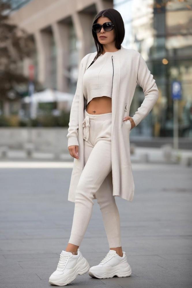 Compleu dama ieftin crem compus din pantaloni lungi + maieu + cardigan lung