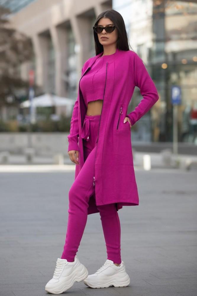 Compleu dama ieftin roz inchis compus din pantaloni lungi + maieu + cardigan lung