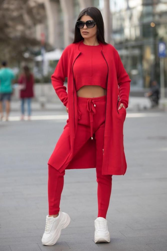 Compleu dama ieftin rosu compus din pantaloni lungi + maieu + cardigan lung