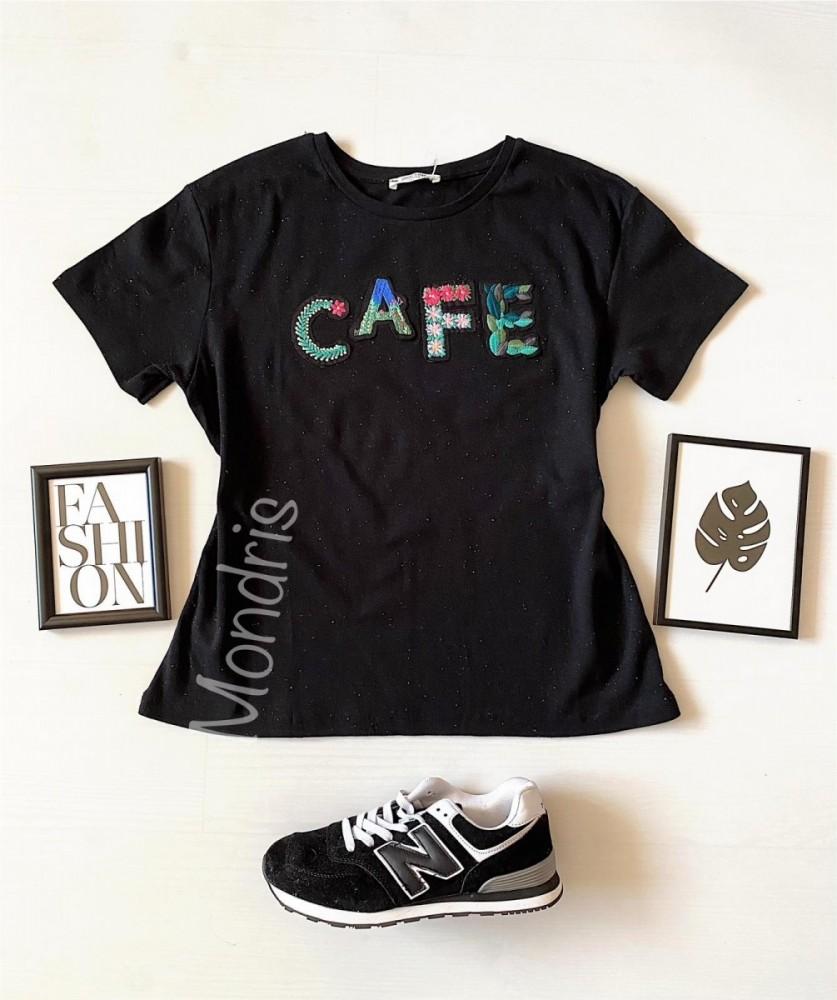 Tricou dama bumbac fin 100% negru cu imprimeu cu paiete CAFE