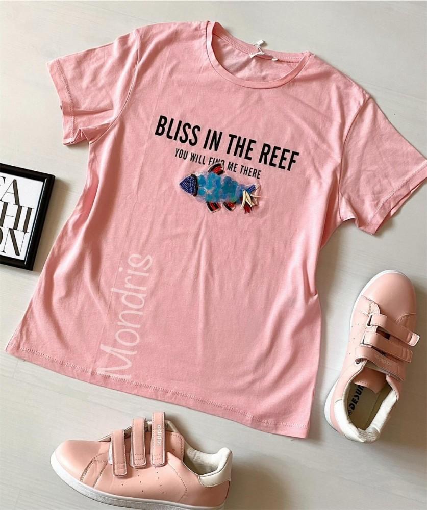 Tricou dama bumbac fin 100% roz cu maneca scurta si imprimeu din paiete Fish