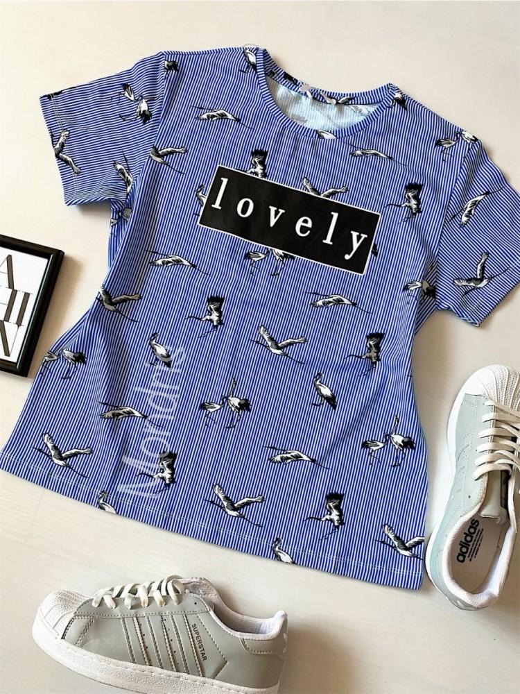 Tricou dama bumbac fin 100% albastru cu pasari si imprimeu Lovely